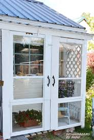 lean to greenhouse from old doors and windows