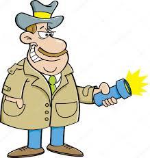 cartoon detective holding a flashlight stock vector