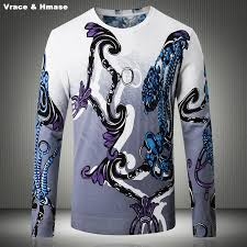 <b>European</b> style exquisite pattern 3D printing <b>fashion casual</b> sweater ...
