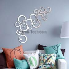 1 set 3d circle ring pattern acrylic mirror surface stylish wall stickers for bathroom bedroom wall decals home decoration silver