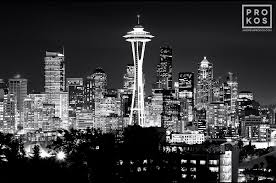 Seattle Cityscape Seattle Skyline At Night B W Black White Fine Art