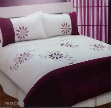 superking size plum purple priscilla embellished duvet cover set