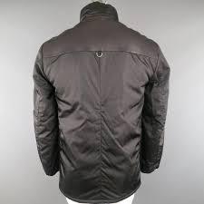 men s prada 40 black patch pocket leather shoulder military jacket for 3