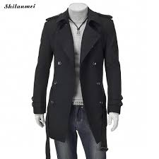 winter trench coat for men black mid long coats with belt suit collar thermal gray men outwear doublt ted casual overcoat trench coat for men trench