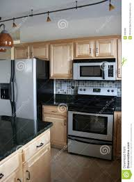 Kitchen Wood Cabinets Stainless Refrigerator Stock Image Image - Kitchen refrigerator