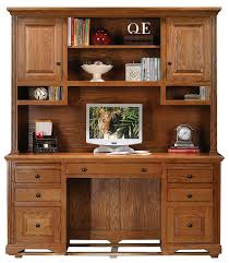 com eagle oak ridge tall double pedestal desk hutch with doors um oak finish kitchen dining