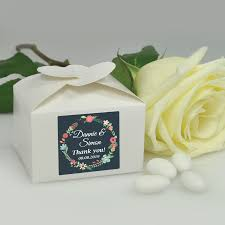 Personalized Heart Favor Box Floral