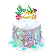 Sakolla Glitter Mermaid Cake Topper Happy Birthday Cake