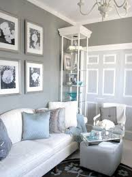 Light Blue Curtains Living Room Grey Wall And Cream Fabric Sofa On Blue Carpet Connected By Cream