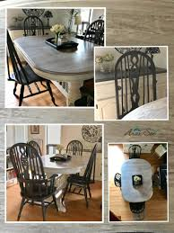Farmhouse Oak Table Set White Washed Top With Contrasting Grey