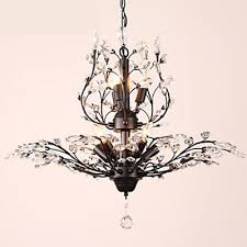 elegant crystal chandelier lighting 5 light fixture pendant ceiling lamp black