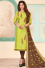Light Green Combination Unstitched Cotton Slub Embroidery Churidar Suit In Green Colour