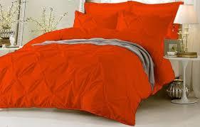 pinch pleated duvet 100 cotton 800 tc with zipper corner ties orange set nshien6311 duvet covers sets
