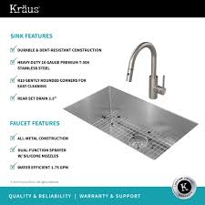 kraus khu100 30. KRAUS Kitchen Combo With Handmade Undermount Stainless Steel 30 In. Single Bowl 16 Gauge Kraus Khu100 T