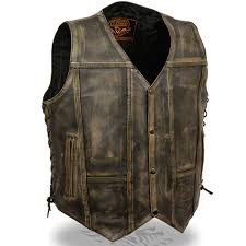 add to my lists milwaukee mens 10 pocket ccw distressed brown leather motorcycle vest