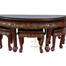chinese antique teak wood mive carved coffee table with 6 stools