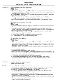 Mental Health Therapist Resume Samples Velvet Jobs