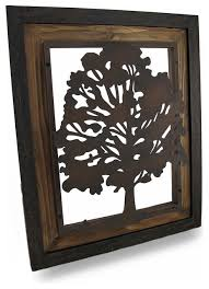 metal rustic finish tree silhouette on wood frame wall hanging