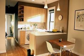 Cute Kitchen For Apartments Vintage Black Wooden Table Lamps Grey Countertop Kitchen Island