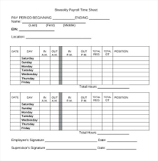 Biweekly Timesheet Template Free Weekly Payroll Sheets Template Definition Free Excel Biweekly