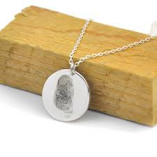 925 sterling silver fingerprint disc necklace 0 6 inch personalized end pendant memorial jewelry gift