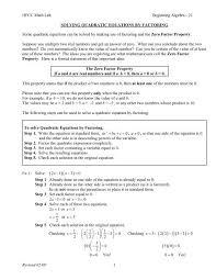 beg alg 21 solving quadratic