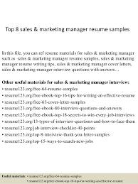 Resume Samples Marketing Top 8 Sales Marketing Manager Resume Samples