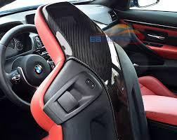 real carbon fiber seat back backseat trim covers 4 pc set for bmw f80 m3