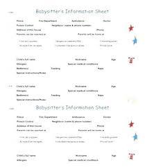 Babysitter Information Sheets Babysitter Information Template Babysitting Information Sheets Best