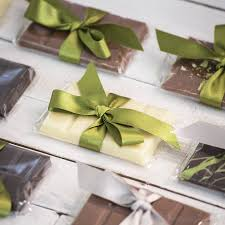 Beautiful Original Mini Chocolate Bar Wedding Favours Green Ribbon