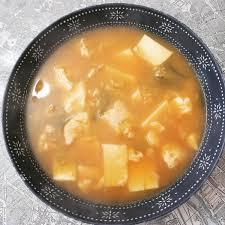 Mom made Korean seafood tofu soup ...