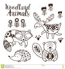 Decorative Ornamental Woodland Animals Vector Set Stock Vector