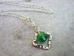 green and blue beach glass stacked necklace with sterling silver 18 inch chain product images