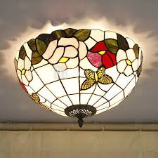 16 Inch Tiffany Style Stained Glass Ceiling Light Flower Pattern Flush  Mount Handmade Lampshade The Kitchen
