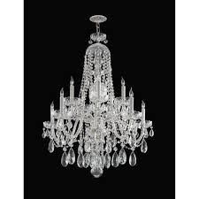 crystorama lighting group traditional polished chrome five light swarovski strass crystal chandelier