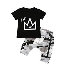 2pcs Toddler Baby Boys King Crown Pattern Short Sleeve T Shirt Tops Camouflage Short Pants Summer Outfit