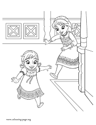 Small Picture Frozen Anna and Elsa playing together coloring page