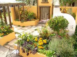 mediterranean outdoor furniture. Mediterranean Garden With Pergola And Yellow Walls Outdoor Furniture