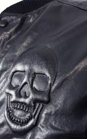 philipp plein mens leather er varsity jacket black