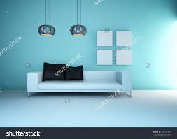 Light Blue Living Room 3d Rendering Light Blue Living Room Stock Photo 130757243