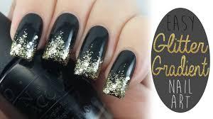 Black And Gold Glitter Gradient Nail Art Tutorial Video