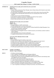 Localization Program Manager Resume Samples Velvet Jobs