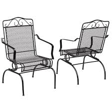 metal outdoor dining chairs set 2 pack rocking seat patio furniture