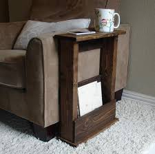 sofa armrest table stand with storage pocket