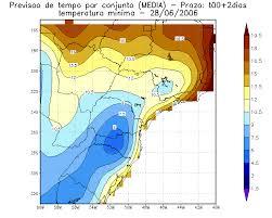 Temperatura mínima para o dia 28 de junho de 2006: (a) previsão ...