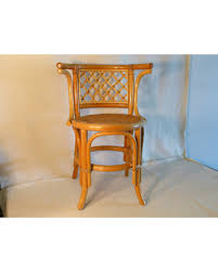 Mid Century Modern Hollywood Regency AWIN Vintage Blonde Bentwood Arm Chair Thonet Style Bamboo With Cane Seat Rattan Back Cafe