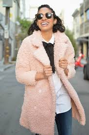 allergic to vanilla sf style blog pink curly wool coat pink faux fur coat