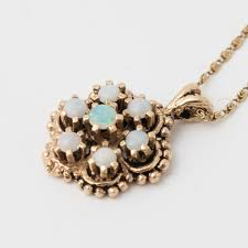 antique 14kt yellow gold fire opal pendant with 16 snail link necklace by atl