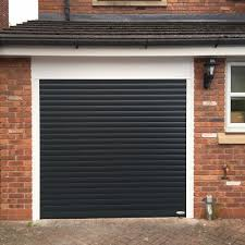 black single roller garage door white frame