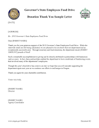 Thank You Letter For Food Donation Governors State Employees Food Drive Donation Thank You Sample Letter